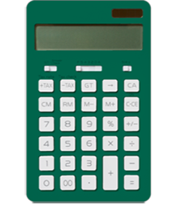 A small green calculator